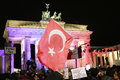 Brandenburg gate january berlin turkish flags in front of the brandenburger tor berlin Royalty Free Stock Photography