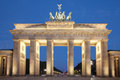 Brandenburg gate at night, Berlin Stock Photo