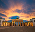 Brandenburg gate at sunset brandenburger tor Royalty Free Stock Photography