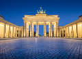 Brandenburg Gate in twilight at dawn, Berlin, Germany Royalty Free Stock Photo