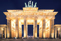 Brandenburger Tor (Brandenburg Gate) panorama, famous landmark in Berlin Germany night Royalty Free Stock Photo