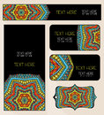 Branding design ethnic pattern set abstract mandala for identity firm of business cards vertical and horizontal banners and tag Stock Photography