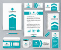 Branding design kit with blue arrow on white for real estate