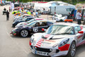 Brands Hatch paddocks with safety car in front Royalty Free Stock Photo