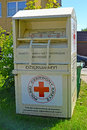 BRANIEWO, POLAND. A container for collection of things by the person in need of the Polish Red Cross Royalty Free Stock Photo