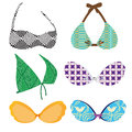 Bras six different with different colors and textures Royalty Free Stock Images