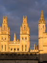 Brasenose college oxford university the spires of in evening light with a stormy sky england uk Stock Photos