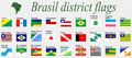 Brasil districts flags complete collection against gray background abstract art illustration Stock Photos