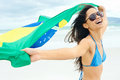 Brasil flag woman fan latino with laughing and smiling in support of brazilian soccer Stock Images