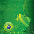 Brasil soccer green background with brasilia map and ball Stock Photos