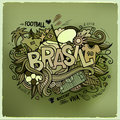 Brasil summer vector hand lettering and doodles elements background Royalty Free Stock Photos