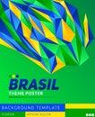 Brasil theme modern poster, vector template illustration, Brazilian flag colors Royalty Free Stock Photo