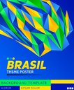 Brasil theme modern poster, vector template illustration, Brazilian flag colors Royalty Free Stock Photo