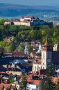 Brasov aerial view of downtown romania city in transylvania with black church and medieval fortress Stock Photo