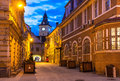 Brasov council house romania saxon medieval architecture in twilight view transylvania landmark enescu square and Royalty Free Stock Image
