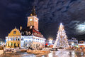 Brasov council square christmas in romania and xmas tre historical medieval old city center of days Stock Image