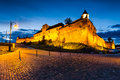 Brasov fortress at night romania twilight with hill part of the city outer fortification system stone citadel was built in for Royalty Free Stock Photo