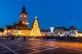 Brasov historical center in christmas days romania december council square th december medieval old city square of Stock Photography