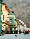 Through brasov a lot of people walking in old city of Royalty Free Stock Images