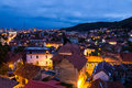 Brasov overview a night view over city with piatra mare mountains in the background Royalty Free Stock Photos