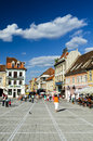 Brasov romania august image with tourists in taken on nd august council square is medieval center of city in Stock Photos