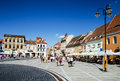 Brasov romania august image with tourists in taken on rd august council square is medieval center of city in Stock Photography