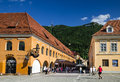 Brasov romania august image with tourists in and tampa mountain taken on rd august council square is medieval center of Stock Photo