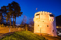 Brasov twilight white tower transylvania romania bastion built in medieval times to protect the city scenery Stock Images