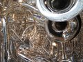 Brass band many horns in a tangle tubas trombones trumpets and bugle Royalty Free Stock Photos
