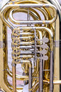 Brass bass tuba with valves closeup Royalty Free Stock Photo