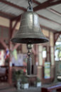 Brass bell in train station Stock Image