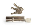 Brass cartridge cylinder with keys isolated on white Royalty Free Stock Photography