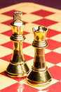 Brass Chess Queen and King Royalty Free Stock Photo