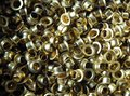 Brass circular eyelets used in fashion and leather work Royalty Free Stock Photo
