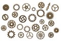 Brass cog wheels isolated on white background Royalty Free Stock Photo