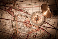 Brass Compass and Old Map Royalty Free Stock Photo