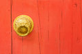 Brass door handle and knocker Royalty Free Stock Photo