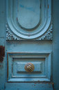 Brass Door Handle On A Rustic Blue Door Royalty Free Stock Photo