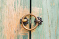 Brass door knocker on the old green Royalty Free Stock Image