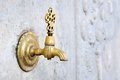 Brass faucet close up of water tap Royalty Free Stock Images