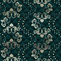 Brass and green seamless Rococo floral Stock Photos