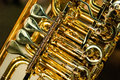 Brass instrument detail golden mechanic Stock Photography