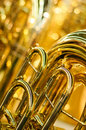 Brass instrument detail tuba golden Stock Images