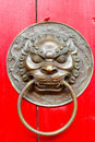 Brass Lion Door Knocker Stock Image