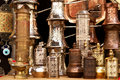 Brass pepper mills in souvenir shop in Mostar Royalty Free Stock Image