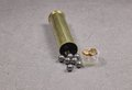 Brass shell with lead buckshot and primers Royalty Free Stock Photos
