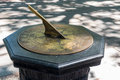 Brass Sundial on a stone stand Royalty Free Stock Photo
