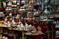 Brass tea sets and serving platters in the Grand Bazaar Istanbul, Turkey Royalty Free Stock Photo