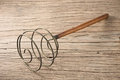 Brass whisk vintage on old wood Royalty Free Stock Photos