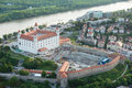 Bratislava castle and Danube river at dusk, Slovakia